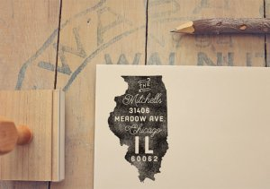 Home State Gifts - Address Stamp from Etsy Seller PeachPrintShop