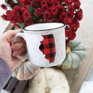 Home State Gift Guide - Buffalo Plaid Mug from Etsy Seller TheVioletVeranda