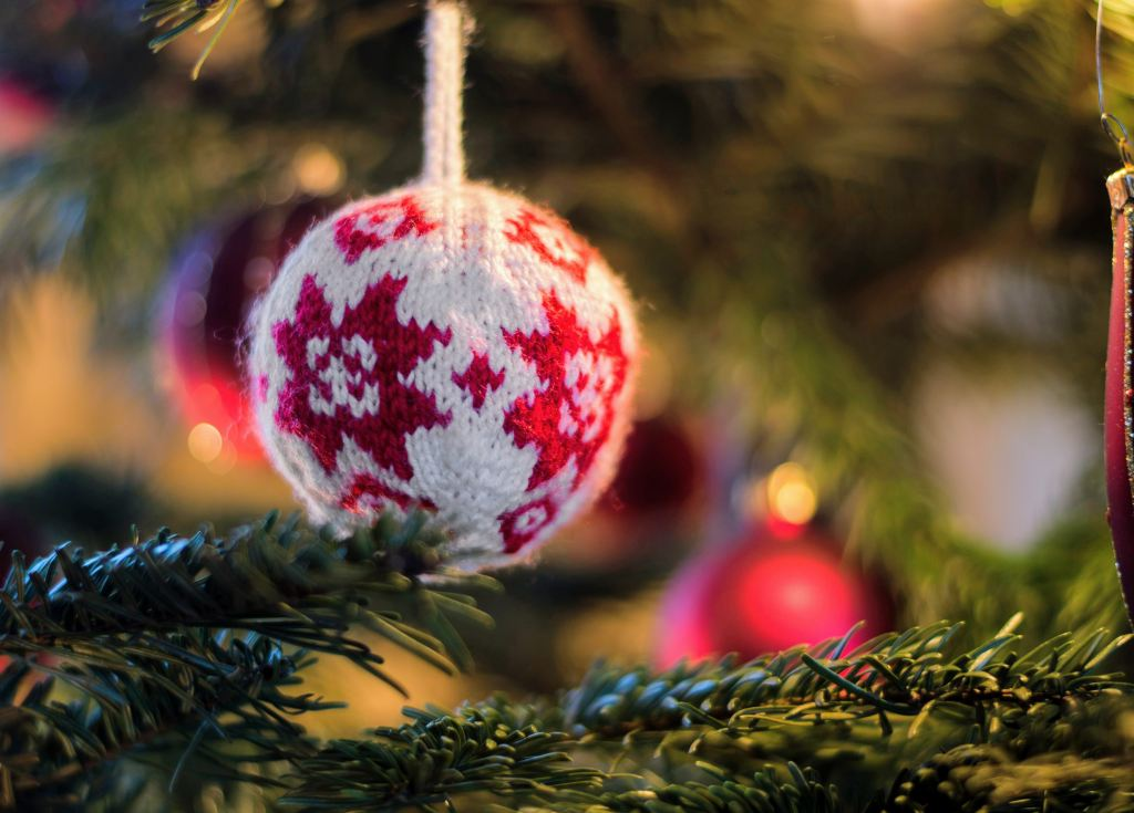 Traveling Away from Home at Christmas - ornament on tree