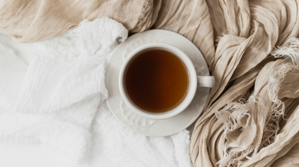 What's Saving My Life Winter 2018 - cup of tea sitting on blankets