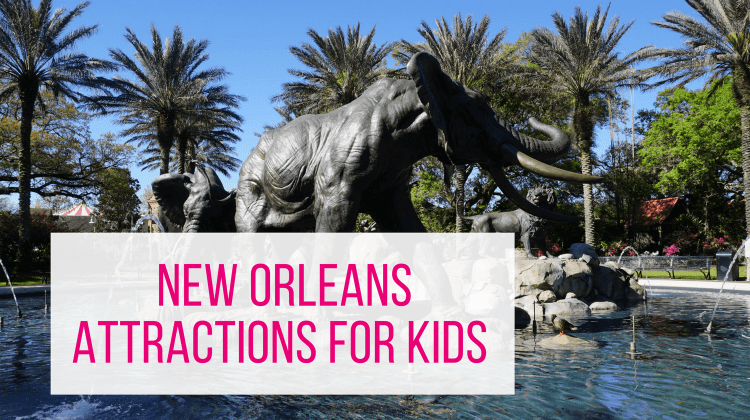 New Orleans Attractions for Kids - elephant fountain with title overlay
