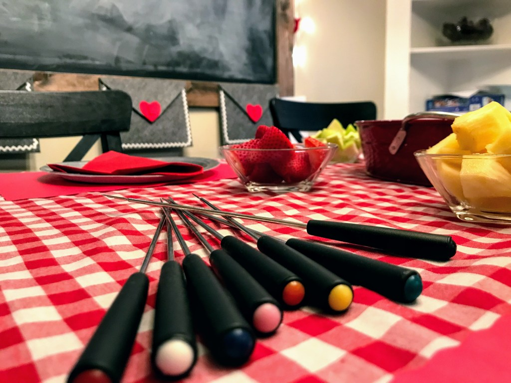 Simple Valentine's Day Traditions for Families - fondue forks on table