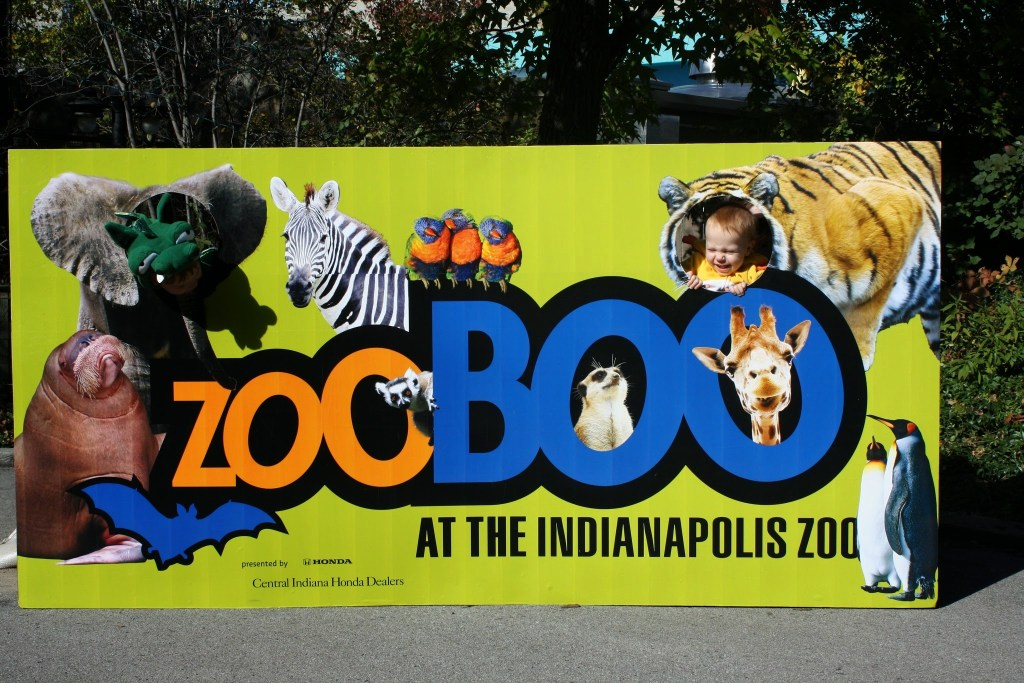 Fall activities in Indianapolis - Zoo Boo sign with animal and text