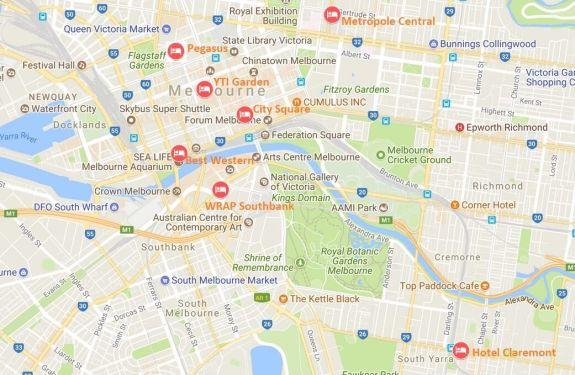 Carte hôtels Melbourne