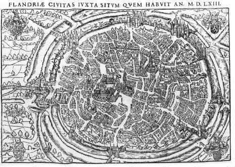 Ancienne carte de Bruges