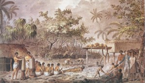 Cook assistant à un sacrifice humain sur un marae de Tahiti