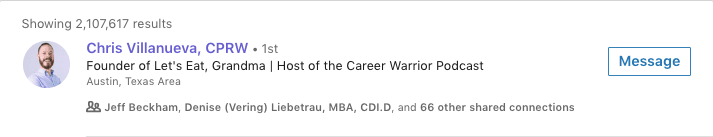 A screenshot of the author's LinkedIn headline appearing in search results.