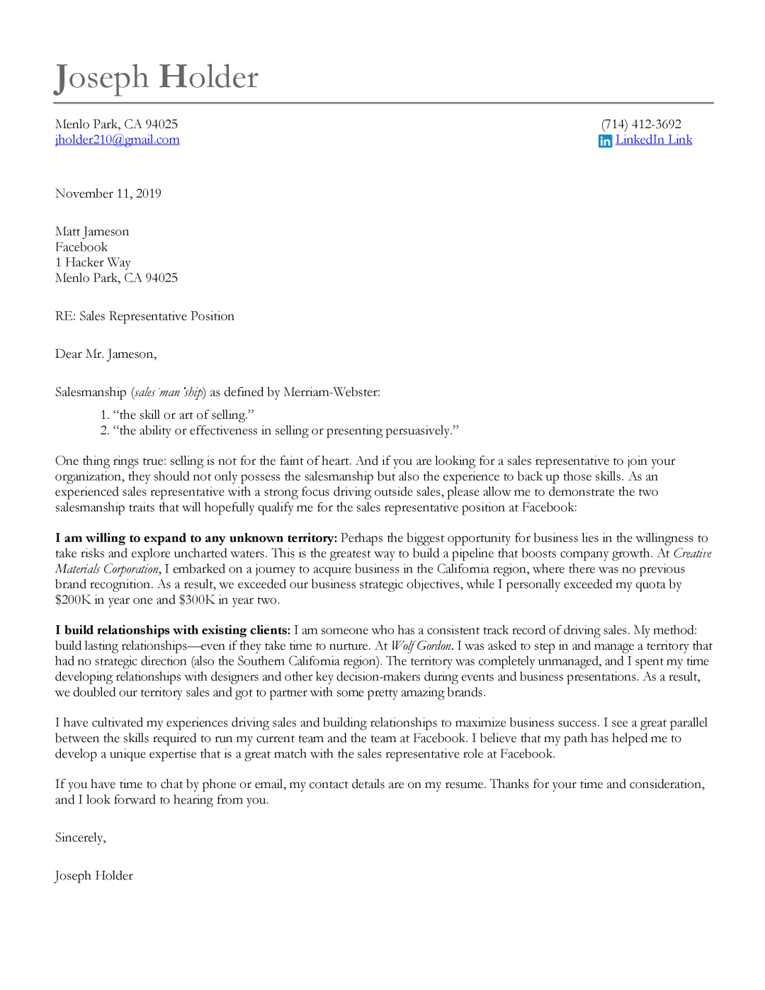 A Sales Cover Letter Sample, professionally written by Let's Eat, Grandma resume service.