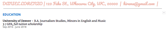 A screenshot of a pink, frilly cursive font used for a header on the author's resume - an example of how not to use font to make your resume stand out.