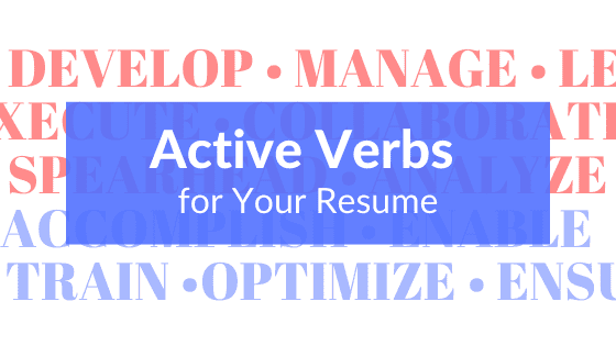 A title graphic featuring a background of various, multi-colored common resume buzzwords and resume action words, along with Let's Eat, Grandma's yellow pencil logo.
