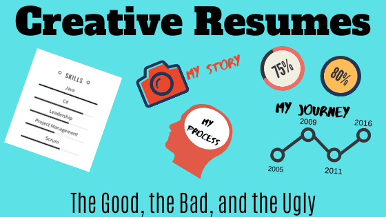 """A graphic with several, scattered infographic and other creative resume elements, with an alternate version of the article's title: """"Creative Resume Examples: The Good, the Bad, and the Ugly"""""""