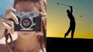 A composite image with a woman taking a photograph and the silhouette of a man playing golf – common hobbies and interests for a resume.