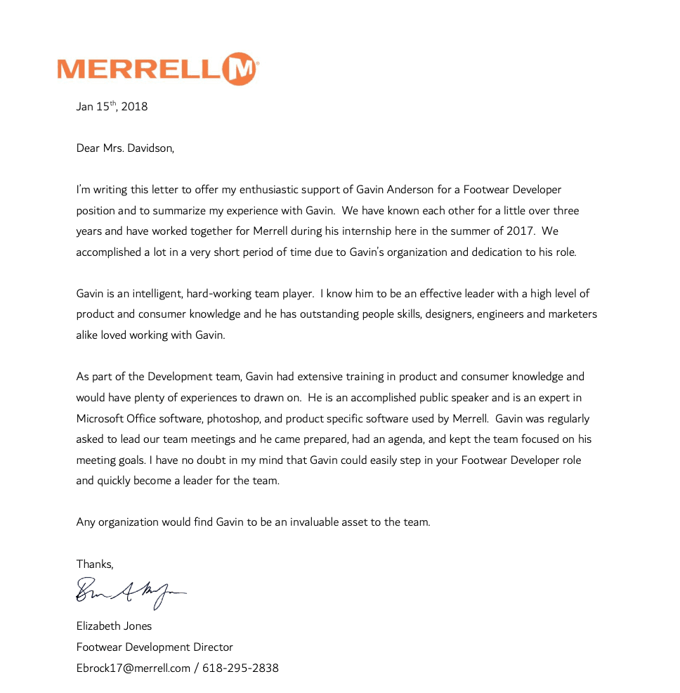 A sample of a professional recommendation letter for a job written by the employee asking for the recommendation. Courtesy of Merryn Roberts-Huntley of Made to Hire.