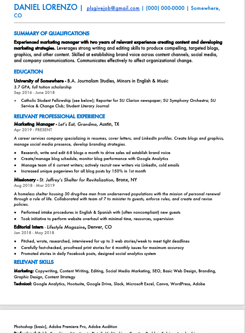 A screenshot of the author's resume using the font Futura, demonstrating the best font size for a resume.