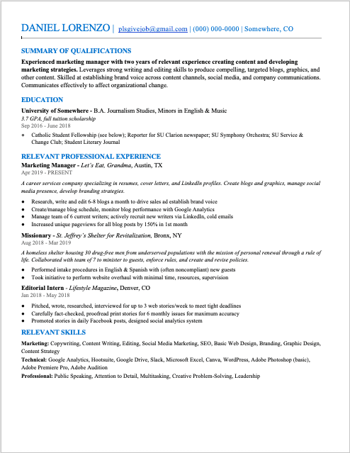 A screenshot of the author's resume using the font Times New Roman, demonstrating the best font size for a resume.