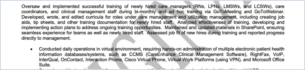 A screenshot of the old resume of a client before working with Let's Eat, Grandma, demonstrating wordiness –one of the most common resume mistakes.
