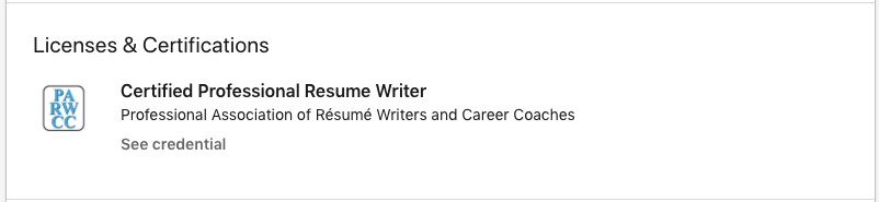 A screenshot of a certification on LinkedIn, demonstrating how licenses and certifications to not list on a resume certifications section.