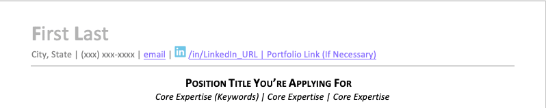 An example of the top of a resume with several places to integrate ATS keywords.