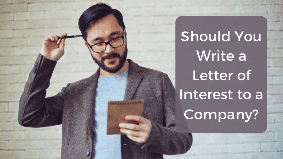 """A title graphic featuring a man in business dress scratching his head in confusion looking at a screen and an alternate version of the article's title: """"What's the Difference Between a Cover Letter and a Letter of Interest?"""""""