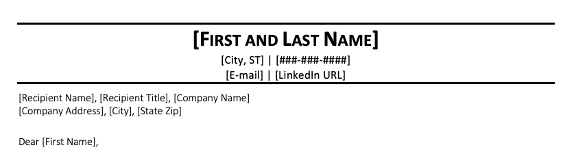 A screenshot of a cover letter with a company address formatted on only one line, the only recommended way to do so if one decides to include that address.