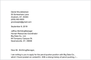 A screenshot of a cover letter with a full company address written before the body, with one address item on each line.