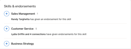 A screenshot of an expanded skills section on LinkedIn with an intentional chosen top 3 skills, one of the key differences between LinkedIn and a resume.