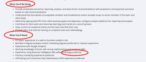 A screenshot of a job description with the heading labelled