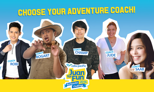 Mentoring the student teams are this year's Adventure Coaches: TV host and VJ Robi Domingo, Internet star Bogart the Explorer, musician Champ Lui Pio, travel writer Jude Bacalso, and actress, singer and blogger Saab Magalona.