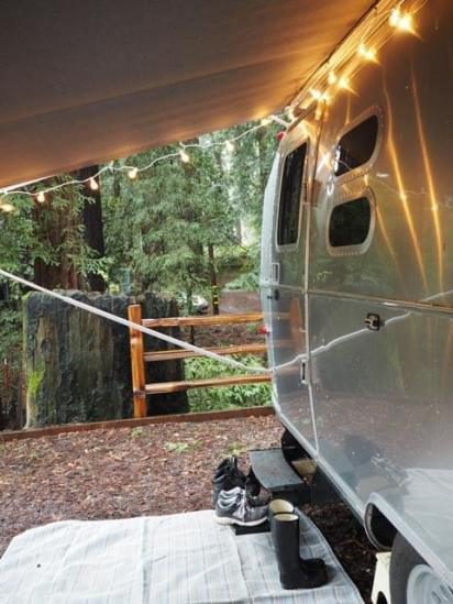 Glamping with Redwood trees with a rented Airstream