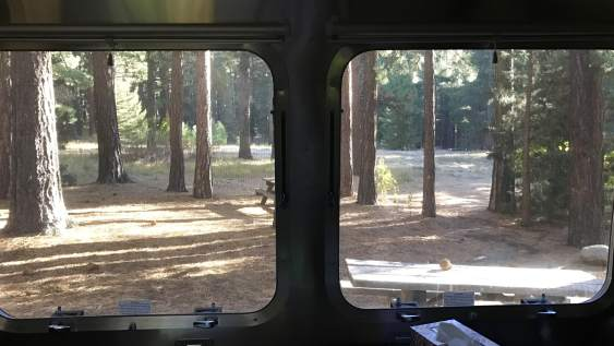 View from inside Airstream Rental at Lake Tahoe Destination Grover Hot Springs State Park