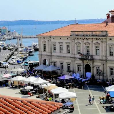 View over beautiful town of Piran on Slovenian coast.