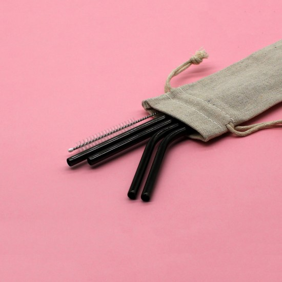 Stainless Steel Straws: Pouch (Black Set)