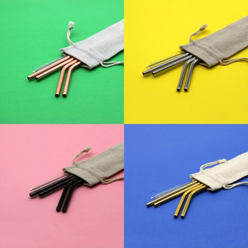 Stainless Steel Straws: Pouch Set