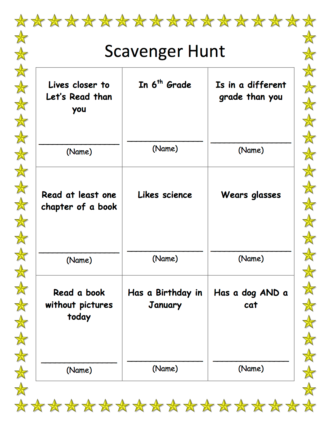 Fun Scavenger Hunt List Indoor