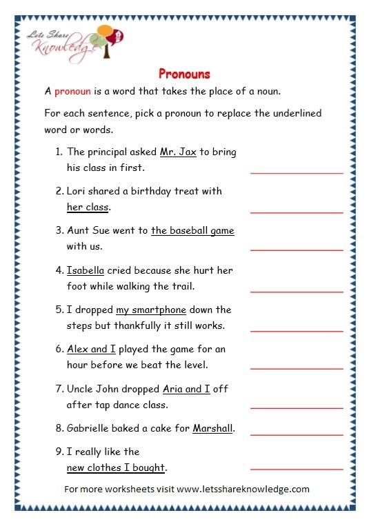 Grade 3 Grammar Topic 9 Pronouns Worksheets