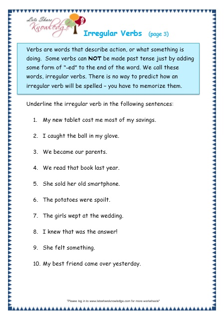 Grade 3 Grammar Topic 39 Irregular Verbs Worksheets