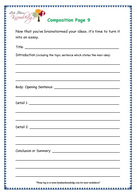 Grade 3 Grammar Topic 43 Composition Worksheets