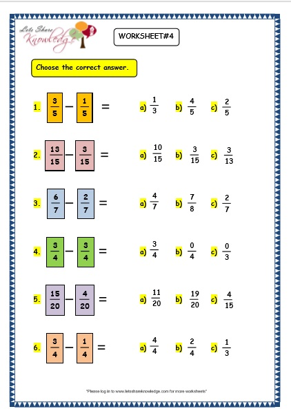 Grade 3 Maths Worksheets 7 7 Subtracting Fractions