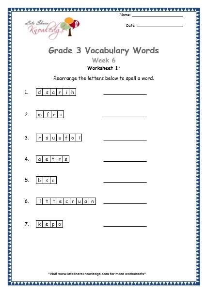 Grade 3 Vocabulary Worksheets Week 6