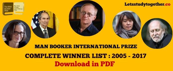 MAN BOOKER INTERNATIONAL PRIZE WINNER LIST