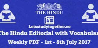 The Hindu Editorial with Vocabulary Weekly PDF