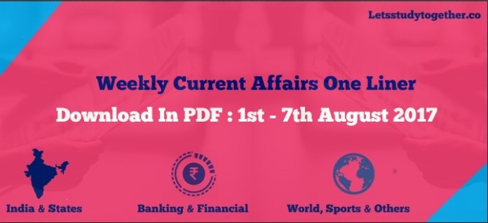 Weekly Current Affairs One Liner PDF