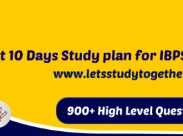 Last 10 Days Study plan for IBPS PO Prelims 2017