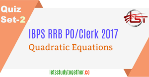 Quadratic Equation Quiz Set -3 IBPS Clerk