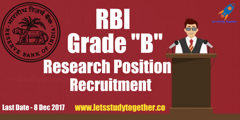 RBI Grade B Recruitment for Research Position 2017
