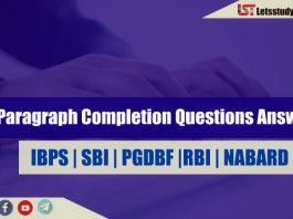 Paragraph Completion Questions for SBI PO/Clerk 2018
