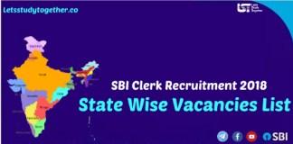 SBI Clerk State Wise Vacancies