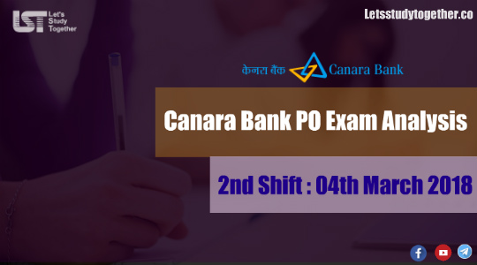 Canara Bank PO Exam Analysis -2nd Shift 2018