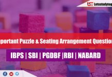 Expected Puzzle & Seating Arrangement Questions for SBI PO & Clerk 2018 | Set- 110