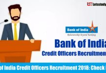 Bank of India Credit Officers Recruitment 2018: Apply Online